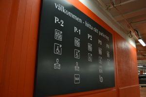 Mall of Scandinavia plåtskylt Wayfinding
